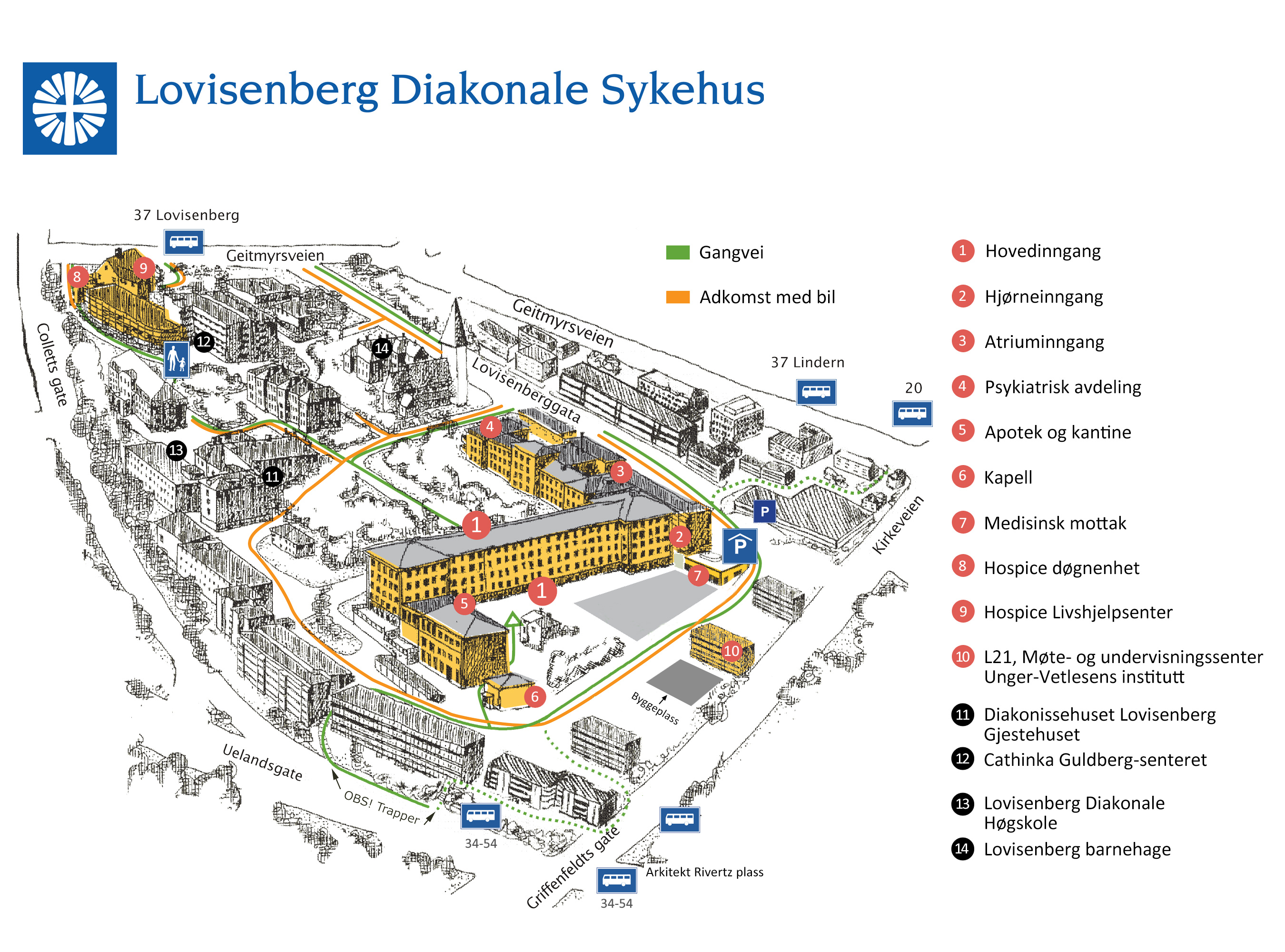 kart over ullevål sykehus Lovisenberg Diakonale Sykehus kart over ullevål sykehus
